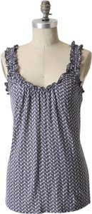 Anthropologie Nautical Print Soft Comfortable Spring Summer Ruffle Flowy Basic Top Blue
