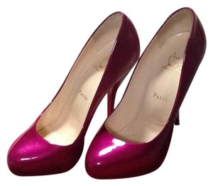 Christian Louboutin Cranberry Metallic Patent Leather Pumps