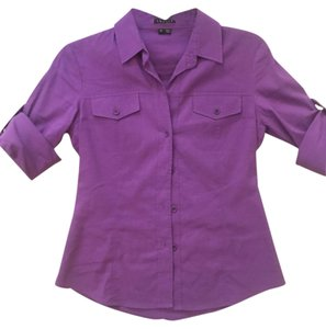 Theory Blouse Shirt Work Button Down Shirt Purple,