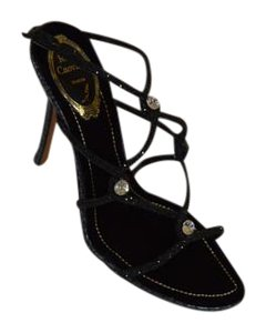 Rene Caovilla Python Exotic Skin Crystals Evening Black Sandals