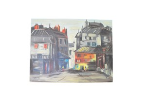 North Charles St. Painting | Vintage Cityscape Painting | 60s Acrylic Painting | Signed Painting | Vintage Original