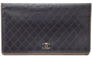 Chanel Authentic Chanel Long Bifold Wallet Black Leather Clutch