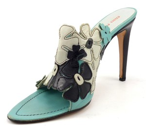 Miu Miu Floral Leather Italian Heels Turquoise & Black Pumps