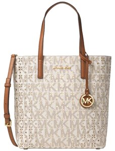 Michael Kors Leather Signature Logo Tote in Vanilla