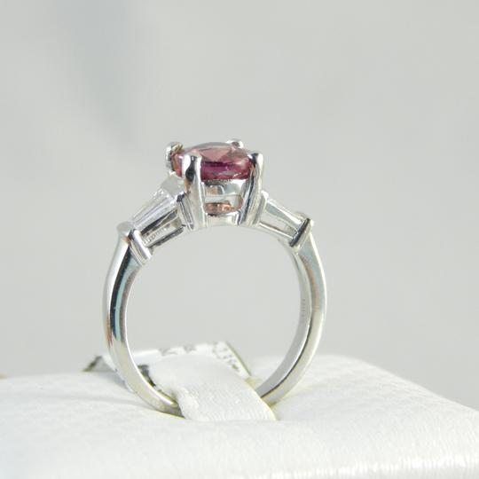 Other GENUINE OVAL PINK SAPPHIRE WITH TAPERED BAGUETTE DIAMONDS PLATINUM