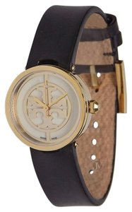 Tory Burch NEW WOMENS TORY BURCH (TRB4008) REVA GOLD TONE BLACK LEATHER WATCH
