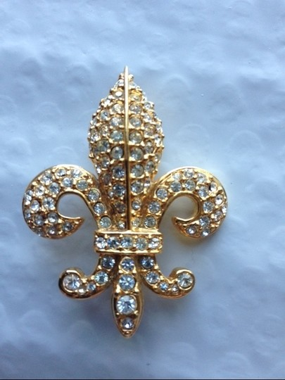 Joan Rivers Vintage 1990's Signed Joan Rivers Fleur-de-lis Brooch Image 1