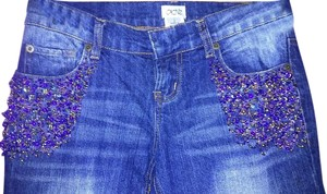 Cache Sequin Beaded Embellished Denim Boot Cut Jeans-Medium Wash