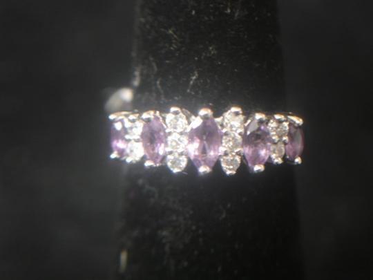 Unknown AMETHYST GEMSTONE W/ CLEAR CUBIC ZIRCONIA STERLING SILVER 925 BAND SIZE 7 RING NWT