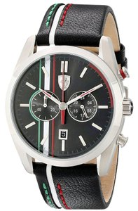 Ferrari Ferrari Men's 0830237 D50 Stainless Steel Watch with Striped Leather