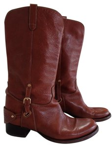 Ralph Lauren Collection Leather Gold Hardware Stamped Logo Brown Boots