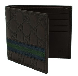 Gucci GUCCI 365491 Men's GG Guccissima Web Stripe Bifold Wallet, Brown
