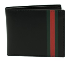 Gucci GUCCI 386841 Men's Leather Web Stripe Bifold Wallet, Black