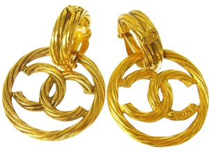 Chanel Chanel Vintage Gold Textured Large CC Two Way Hoop Earrings