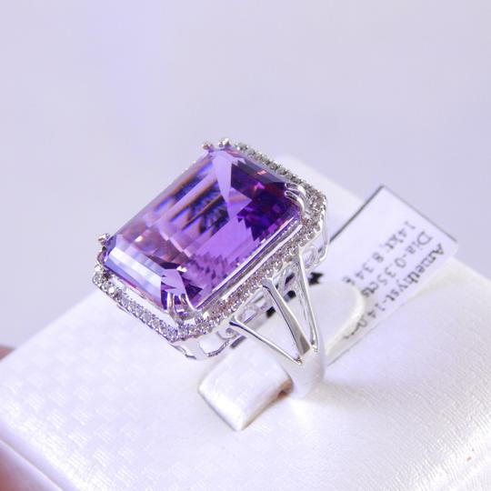 Custom-Made GENUINE EMERALD CUT AMETHYST WITH MICRO SET DIAMONDS AROUND (HALO)