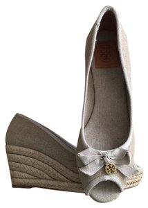 Tory Burch Wedge Slip On Linen Lined Natural, Gold Wedges