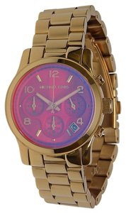 Michael Kors NEW WOMENS MICHAEL KORS (MK5939) GOLD RUNWAY CHRONO PINK DIAL WATCH