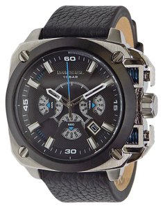 Diesel NEW MENS DIESEL (DZ7345) BAMF BLACK LEATHER STRAP SILVER DIAL WATCH