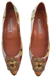 Manolo Blahnik Hangisi Orange & Yellow Flats