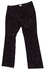 Chico's Floral Velvet Boot Cut Pants Brown