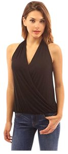 PattyBoutik Drape Draped Wrap Party Top Black