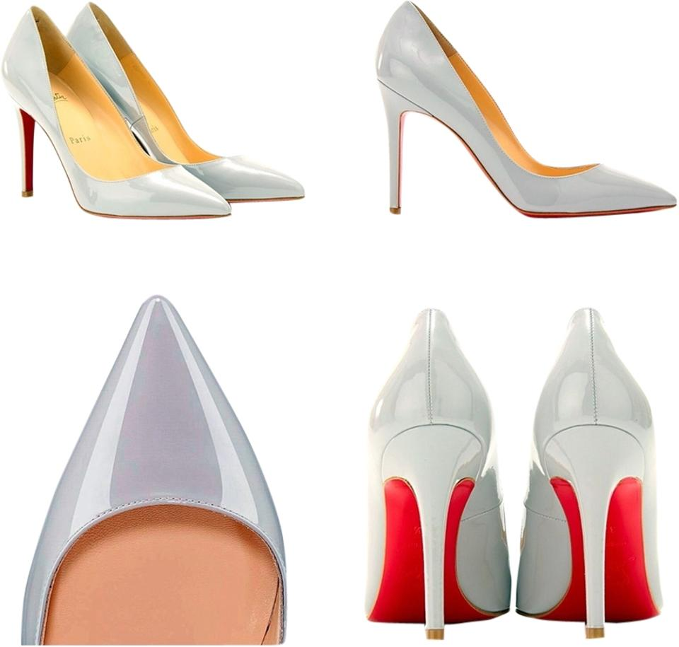 dfeb32aa1ff Christian Louboutin Patent Leather Grey Pigalle Follies Pumps Size ...