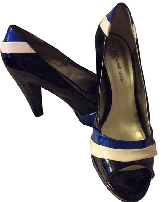 Item - Black/White/Blue Klein... Timeless Tricolor Patent Upper Pumps Size US 8.5 Regular (M, B)