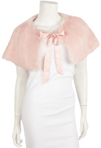 Laundry by Shelli Segal Small Pink Fur Wrap With Silk Ribbon Tie