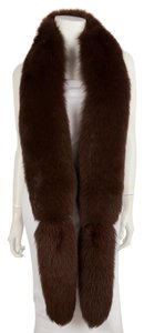 Dark Chocolate Brown Extra Long Fox Fur Stole