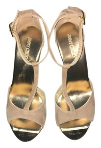 Jimmy Choo Logo Gold Hardware Nude Wedges