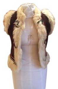 Joie Suede Leather Fur Embroidered Vest