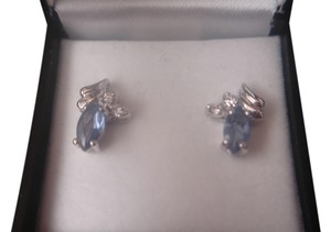 Unknown STERLING SILVER 925 TANZANITE GEMSTONES MARQUISE SHAPE EARRINGS NEW WITH BOX