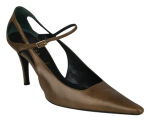 Escada Ankle Strap Gold BROWN Pumps