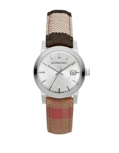 Burberry Burberry Women's Housecheck Leather Fabric Silver Steel Watch BU9151