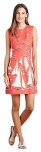 Anthropologie short dress Red Coral Blue White on Tradesy