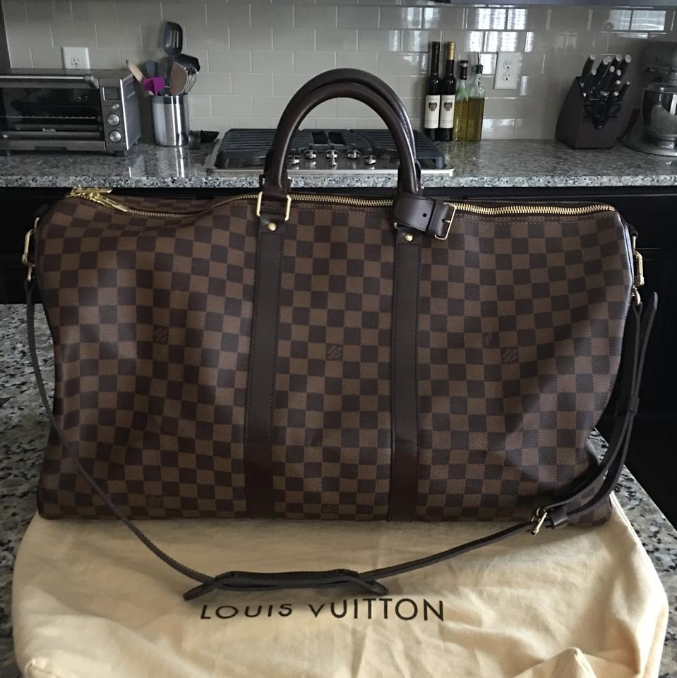 64e276883353 Louis Vuitton Keepall Speedy Duffle Bandouliere 55 Damier Ebene Canvas  (Keywords Azur Graphite Cobalt Macassar 25 30 35 40 45 50 Brown Leather ...