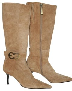 Escada Suede Gold Zipper GOLDEN BROWN Boots