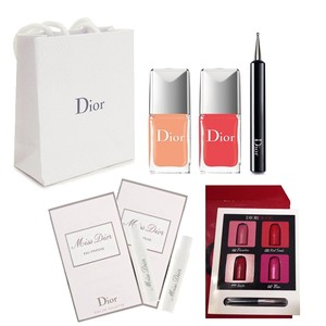 Dior Confettis Nail Polish box set coral melon + cherry red with gifts