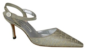 Manolo Blahnik Slingback Silk Satin SILVER & GOLD Pumps
