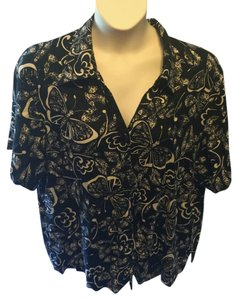 Erika Casual Butterfly Floral Camp Shirt Plus Size Button Down Shirt Black and Beige