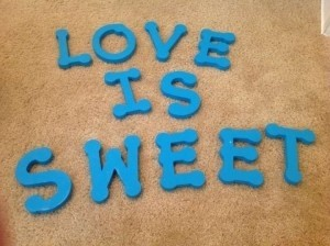 Turquoise Love Is Sweet Wooden Letters Reception Decoration