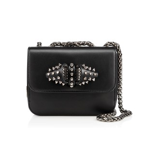 Christian Louboutin Leather Spike Night Out Black Clutch