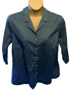 Eddie Bauer Plus Size Wrinkle Resistant Button Down Shirt Blue