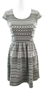 Rewind short dress Black Aztec A-line Cap Sleeve Boho on Tradesy