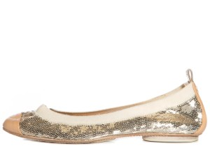 Chanel Tan Gold Nude Flats