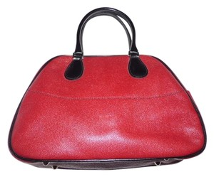 Furla Great Everyday Satchel in dark red leather with black leather accents
