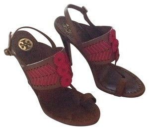 Tory Burch Tan with pink stitching Mules