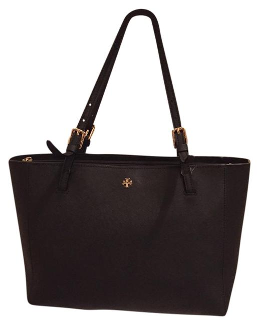 Item - York Small Buckle Black Leather Tote