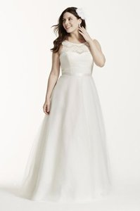 David's Bridal Illusion Lace Tank Wedding Dress With Tulle Skirt In Ivory Size Wg3711 Wedding Dress