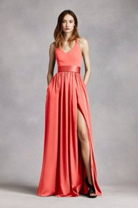 Vera Wang Sunset White By Vera Wang V-neck Halter Gown With Sash Dress